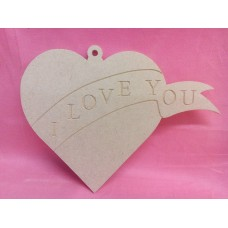 4mm MDF Heart I love you 200mm wide